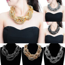 Fashion Metal Chain Resin Pearl Chunky Choker Statement Pendant Bib Necklace New