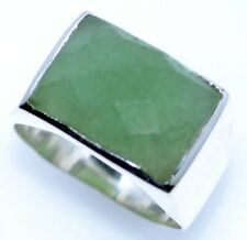Solid Sterling Mens 925 SILVER Signet Rings Green Jade Gemstone Ring Size L to Z