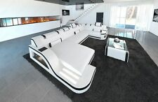Design Leather Sectional Sofa PALERMO U Shaped Corner Sofa with LED Lights