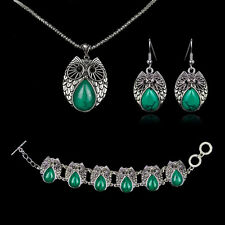 Tibetan Silver Fashion Party Jewelry Turquoise Owl Necklace Bracelet Earring Set
