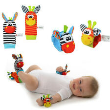 1 Pair Cute Infant Baby Kids Animal Hand Wrist Bells Foot Sock Rattles Soft Toys