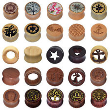 Ear Gauges Bamboo Wood Saddle Flared Ear Flesh Tunnels Plugs Multi-Style 2PCS