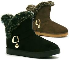 WOMANS FLAT ANKLE FAUX FUR COMFY COLLAR SNUGG WARM WINTER SHOES BOOTS SIZE 3-8