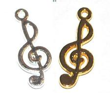 25 SILVER / GOLD PLATED MUSICAL NOTE TREBLE CLEF JEWELLERY CRAFT CHARMS PENDANTS