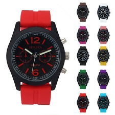 Geneva Fashion Unisex Silicone Stainless Steel Band Analog Quartz Wrist Watches