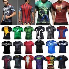 Mens Marvel Superhero Compression T-Shirts Top Tee Costume Jersey Cycling Gym