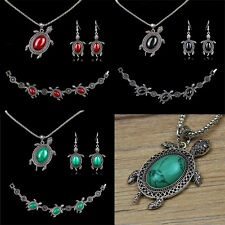 Vintage Silver Turquoise Tortoise Charms Necklace Bracelet Earring Jewelry Set