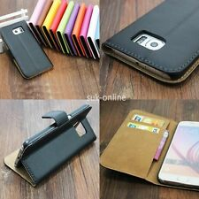For Samsung Galaxy New Genuine Real Leather Flip Case Cover Wallet Card Holder