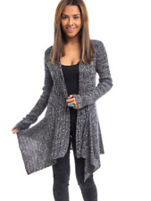 NWT GRAY & BLACK MARBLED LONG DRAPE FRONT CARDIGAN SWEATER (S, M, L)
