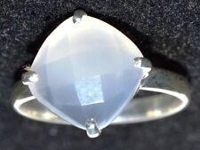 Sterling SILVER Solitaire White Gemstone Ring 925 Facet cut, Sizes 5, K to 12, Y