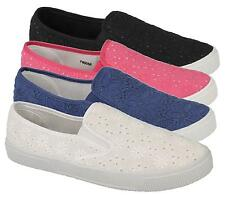 LADIES WOMENS CANVAS PLIMSOLL FLAT GYM SHOES SNEAKERS TRAINER PUMPS SIZE