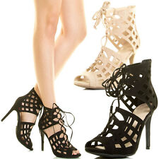 Womens Cage Cut Out High Stiletto Heel Pump Sandal Lace Up Peep Toe Gladiator US