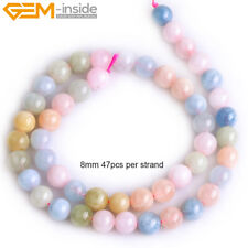 """Round Smooth 8mm Gemstone Jewelry Making Loose Beads 15"""", Various Material Pick"""