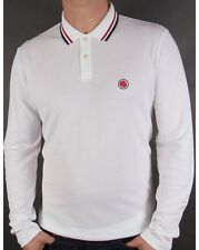 Pretty Green - Tipped Long Sleeved Polo Shirt in White - cotton pique