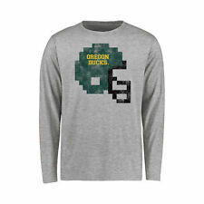 Youth Ash Oregon Ducks 8-Bit Football Helmet Long Sleeve T-Shirt - College