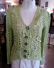 NWT PURE AND COMPANY LIME GREEN ARTFUL HAND CROCHETED COTTON SWEATER-ORIG. $124