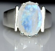 Rainbow Moonstone Sterling Silver Ring Solitaire Gemstone 925 Size 5, K to 10, U