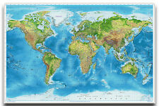 World Map Wall Chart - Political & Physical Poster New - Maxi Size 36 x 24 Inch