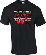 Funny Video Games Ruined My Life Good Thing I Have Two Extra Lives T-Shirt