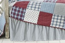 AMERICAN BLUE TICKING STRIPE Twin Queen or King BED SKIRT : DUST RUFFLE BEDSKIRT