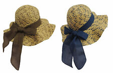New Retro Blue / Brown Wide Brim Raffia Straw Sun Hat 1920's 1940s Style