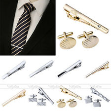 Men's Stainless Steel Simple Necktie Tie Bar Clasp Clip Cufflinks Clamp Pin Gift