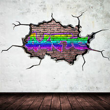 FULL MULTI COLOUR PERSONALISED GRAFFITI NAME Brick Wall Sticker Decal Graphic