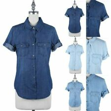 Short Sleeve Denim Chambray Shirt Button Down Chest Pockets Casual Cotton S M L