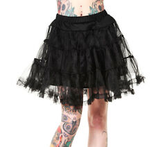 "BANNED 50s Dress Rockabilly BLACK PETTICOAT Skirt Goth Vintage 20"" All Sizes"