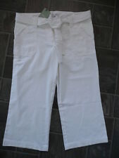 BNWT NEXT Maternity Low Rise Under Bump White Linen Cropped Trousers with Belt