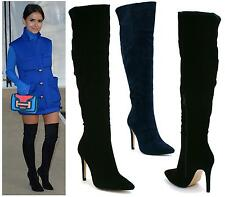 Womens Navy Over The Knee High Stiletto Heel Ladies Stretch Calf Boots Size 3-8