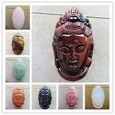XJ-615 Excellent Carved Mixed Gemstone Kwan-yin Head Pendant Bead