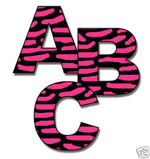 Hot Pink Zebra Animal Print Alphabet Letter Wall Decal Teen Girl Name Stickers