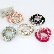 "1pc Sweet Mix Flower Beads Alloy Resin Rhinestone Bangle Bracelet 6.69"" Stretch"