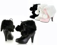 New Arrival Women's Mid-Calf Boots Hairy High Heel Shoes US All Size B753