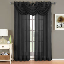 Abri Black Grommet Crushed Sheer Curtain Panel 100% Polyester