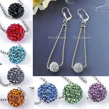 Pair Dangle 10mm Resin Rhinestone Disco Ball Bead Hoop Hook Lever Back Earrings
