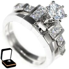 2.85CTW BRILLIANT CUT STONE ENGAGEMENT WEDDING SET (2 rings) w/BOX SIZE 6,8,9,10