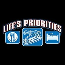 New LIFE'S PRIORITIES EAT, CARS, SLEEP T-Shirts Small to 5XL BLACK or WHITE