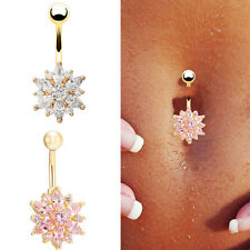 Women Fine Belly Button Rings Navel Bar Body Piercing Rhinestone Flower Jewelry