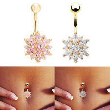 Women Chic Rhinestone Flower Navel Belly Rings Button Bar Body Piercing Jewelry