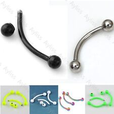 10pcs Stainless Steel Ball Curved Eyebrow Ring 16ga Barbell Ear Body Piercing