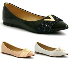 WOMENS FLAT GLITTER POINTED TOE SLIP ON BALLERINA BALLET PUMPS LOAFERS SHOES