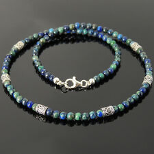 Men's Healing Gemstone Necklace 4mm Mixed Chrysocolla Lapis Sterling Silver 95M