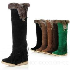 womens Winter Fashion Ladies Casual Fur shoes Slouch Warm knee length Boots size