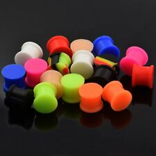 PAIR Glow In The Dark Silicone Ear Skins-Ear Gauges-Ear Tunnels plugs 9 Colors