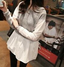 Woman's Stitching Head Fake Two-piece Cotton Long-sleeved Sweater Bottom Sweater