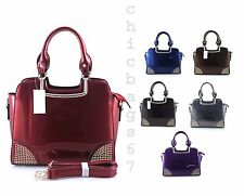 New Girls Small Ladies Studded Patent Faux Leather Tote Shoulder Handbag