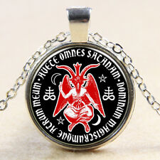 Baphomet Satanic Goat Pentagram Devil Glass Art Pendant Witchcraft Necklace