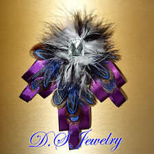 Unisex Colorful Silk & Feather Brooch / Hair Clip - ready for Melbourne Cup?